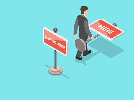 Outsource flat isometric vector concept isolated on plain background. Illustration