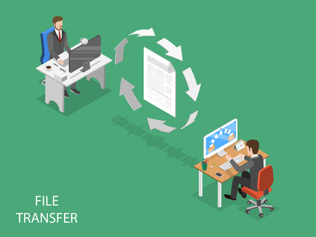 File transfer flat isometric vector concept isolated on plain background.