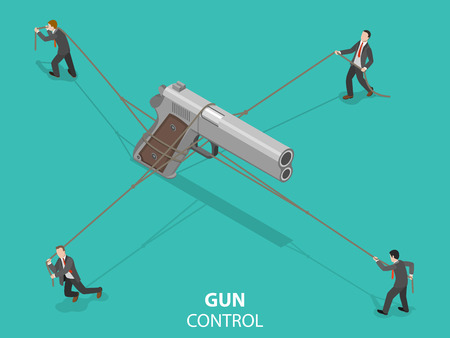 Gun control flat isometric vector concept.