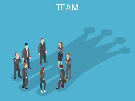 Successful team flat isometric vector concept.