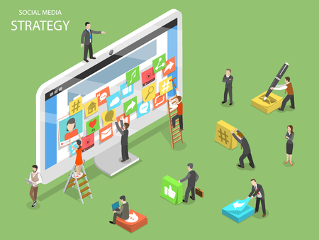 Social media strategy flat isometric vector. Illustration