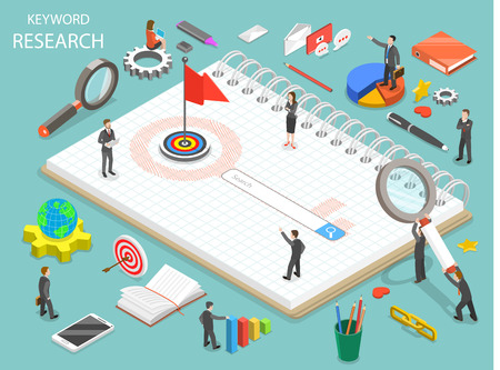 Keyword research flat isometric vector concept with books and people