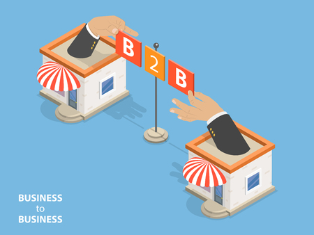 Business to business flat isometric vector concept vector illustration.