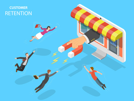 Online store customer retention vector illustration. Archivio Fotografico - 99016932