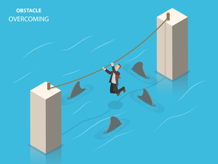 Obstacles overcoming flat isometric vector concept.