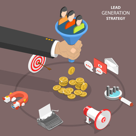 Lead generation strategy flat isometric vector.