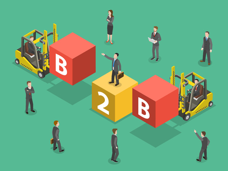 Busines to business flat isometric vector.