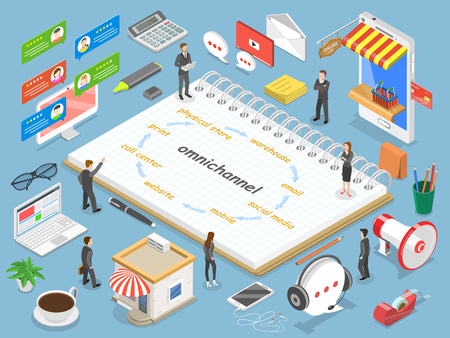 Omnichannel flat isometric vector concept. Фото со стока - 99351349