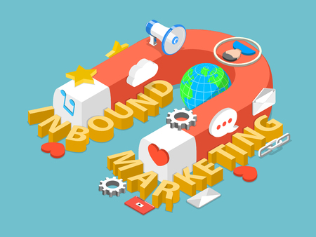 A huge magnet have attracted the letters of words INBOUND MARKETING and corresponding attributes.