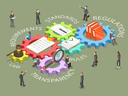法令遵守フラットアイソメベクトルコンセプト。ビジネス担当者は、関連する法律、ポリシー、および規制を遵守するための手順について話し合っています。