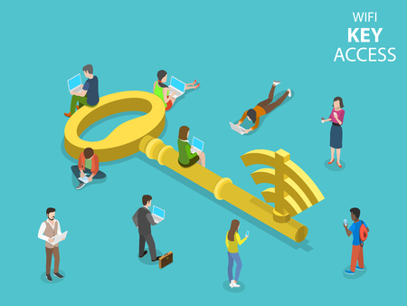 WIFI key access flat isometric vector concept. A metal key with wi-fi symbol on it surrounded by the people with gadgets.
