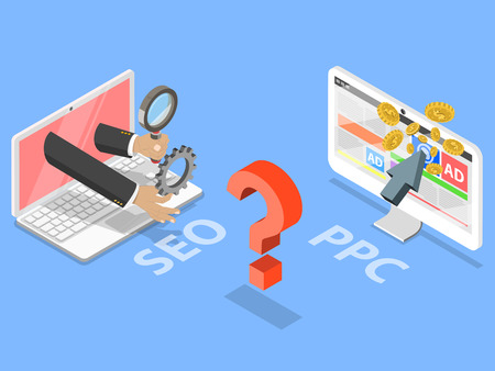 SEO and PPC flat isometric vector concept with computers.