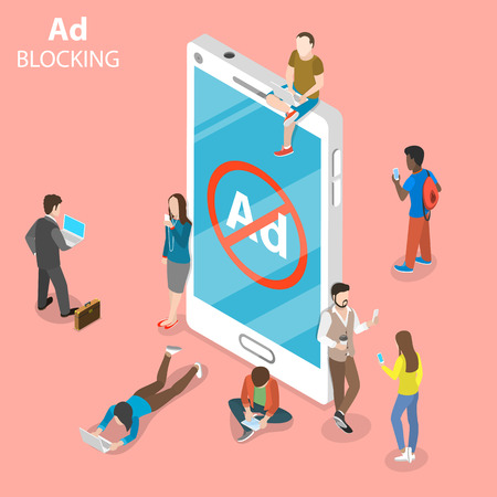 Ad blocking flat isometric vector concept.