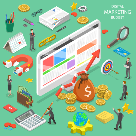 Flat isometric vector concept of digital marketing budget calculation, seo, ppc, roi. Stock Vector - 99933818