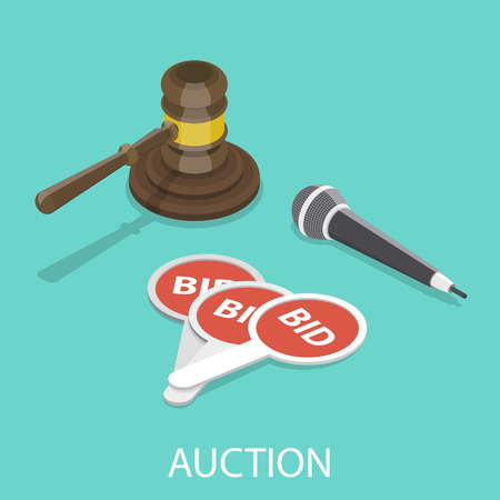Auction flat isometric vector concept. Ilustrace