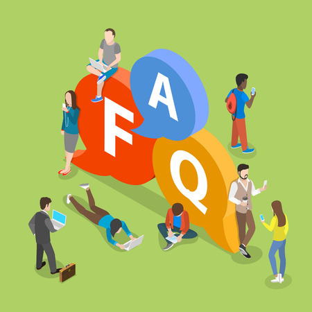 FAQ flat isometric vector concept with people.