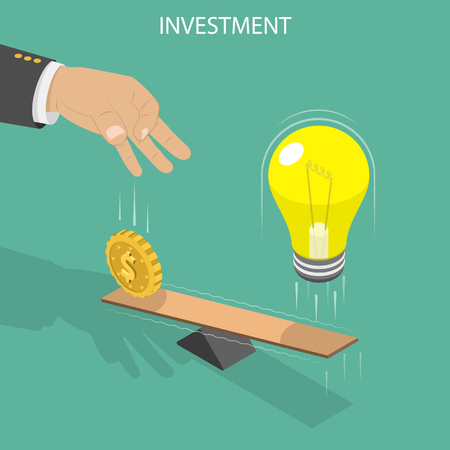 Investment flat isometric vector concept. A hand is throwing a coin on the one side of the swing that launching a lightbulb from the other side. Çizim