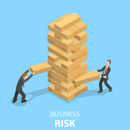 Business risks flat isometric vector concept. Two businessmen are playing the Tower game. Illustration