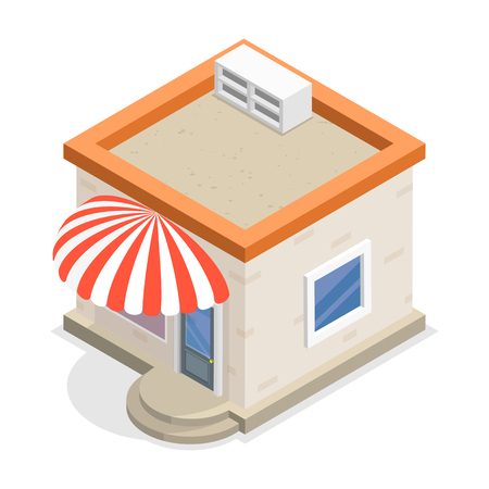 Store or shop flat isometric vector icon, illustration.