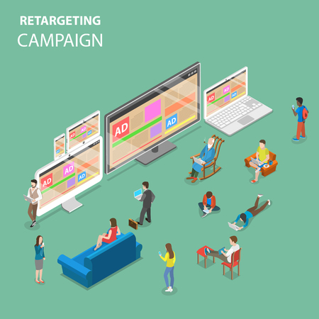 Re-targeting campaign flat isometric vector concept.