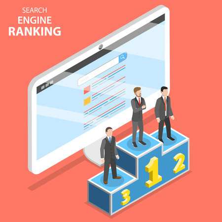 Search engine ranking flat isometric vector illustration.