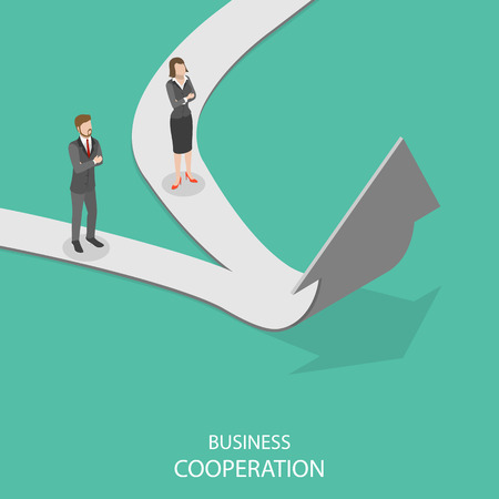 Business cooperation flat isometric vector concept. Иллюстрация