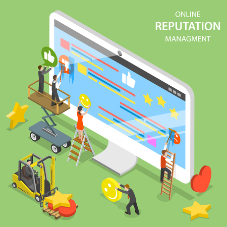 Reputation management flat isometric vector.
