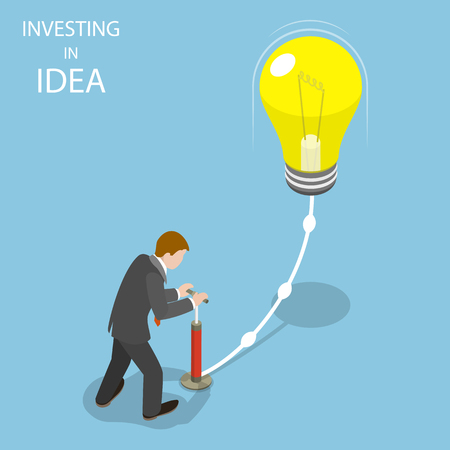 Investing in idea flat isometric vector concept. Illustration