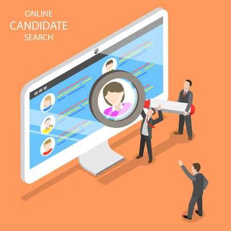 Online candidate search flat isometric vector.
