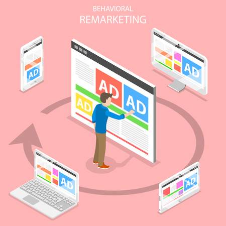 Remarketing flat isometric vector concept. Çizim