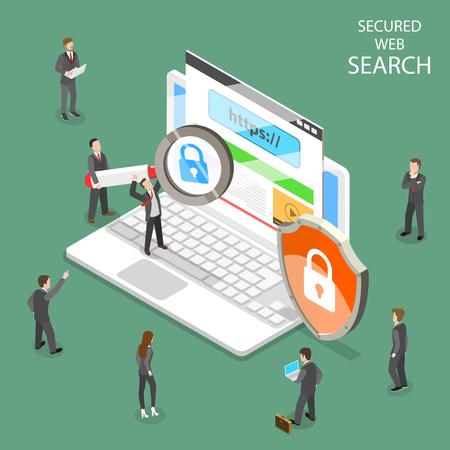 Vector isométrico plano de búsqueda web segura.