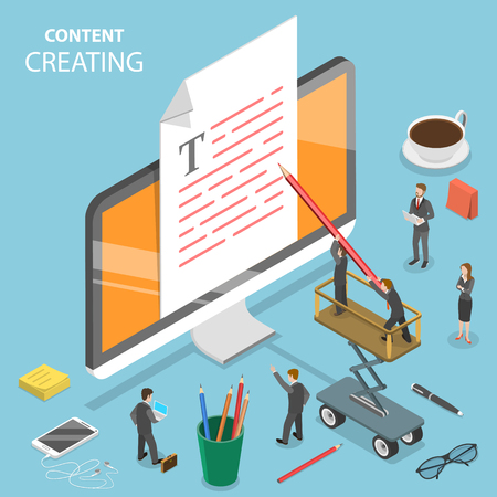 Content creating flat isometric vector concept. Group of people are creating a text at the document that is sticking out of the PC monitor.