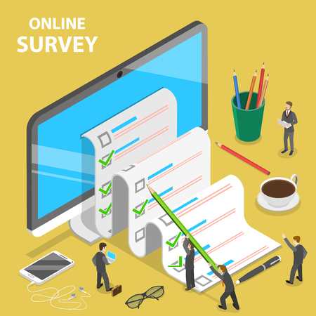 Online survey flat isometric vector concept. Group of people are filling out a paper survey form that is sticking out of the PC monitor.