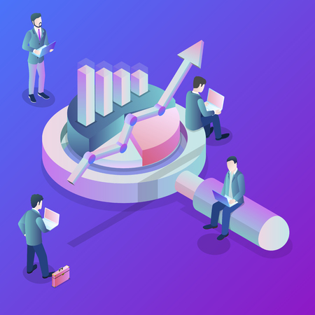 Data analysis flat isometric vector concept. A business team is investigating some information around the huge magnifying glass and some kinds of finance charts and diagrams. 일러스트