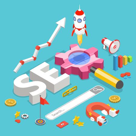 SEO, concetto di vettore isometrico piatto di ottimizzazione dei motori di ricerca.
