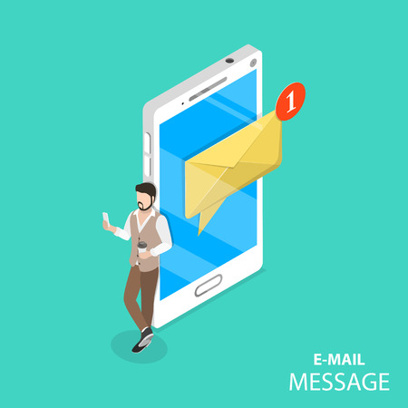 Mobile e-mail notification flat isometric vector concept. A man is browsing his new messages on its gadget standing beside the huge smartphone with notification about a one new message.