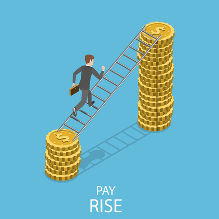 Pay rise flat isometric vector concept. A man is climbing by the ladder to a pile of coins that is bigger the previous one.