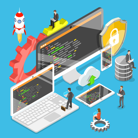 Flat isometric vector concept of software development, teamwork, brainstorm. Stock fotó - 101149981