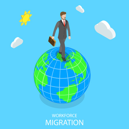 Flat isometric vector concept of workforce migration.