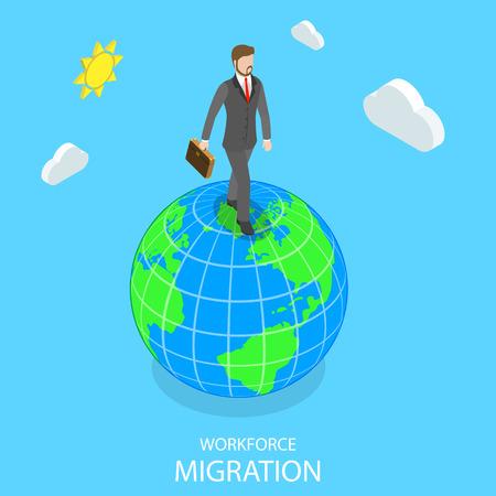 Workforce migration flat isometric vector concept. Stock Illustratie