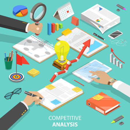 Competitive analysis flat isometric vector concept Foto de archivo - 101874542
