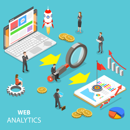 Web analytics flat isometric vector concept. Stock Illustratie