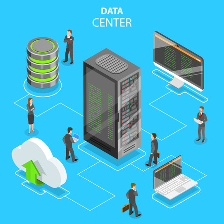 Data center flat isometric vector concept.