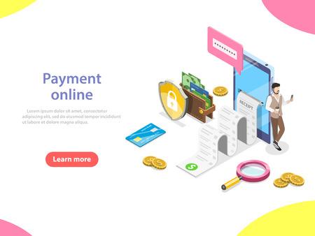 Koncepcja płatności online płaski izometryczny wektor.