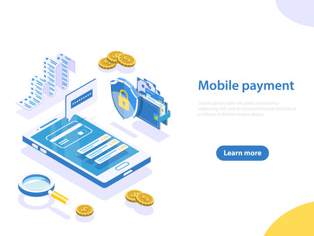 Mobile payment flat isometric vector concept.