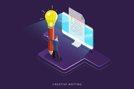 Creative writing flat isometric vector concept.