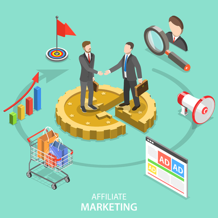 Affiliate marketing flat isometric vector concept. Çizim