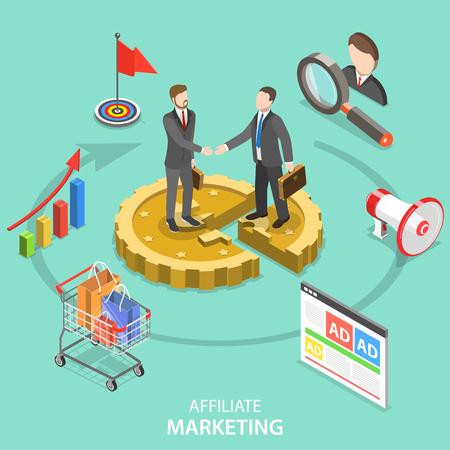 Flaches isometrisches Vektorkonzept des Affiliate-Marketings.