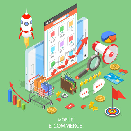 Mobile advertising flat isometric vector concept.