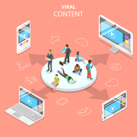 Viral content flat isometric vector concept. Illustration